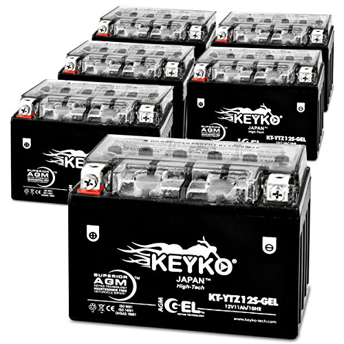 210 CCA Cold Cranking Amps - REAL 11 Amp - 12 volts YTZ12S Battery AGM GEL Extreme High Performance Sealed Maintenance Free - Genuine KEYKO - 6 Pack
