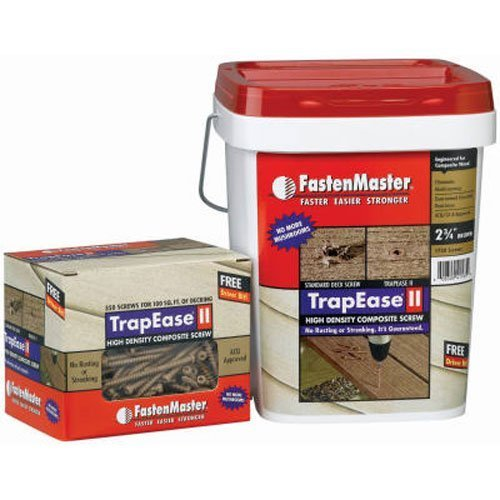 FastenMaster FMTR2-234-350DR 2-3/4-Inch TrapEase II High Density Composite Deck Screw, Dark Redwood, by (Trapease Screw)
