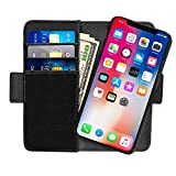iPhone X Case Detachable Genuine Leather Wallet Case Handmade Flip Folio Case with Magnetic Car Mount Holder Kickstand and Card Slots Feature for iPhone X Black Review