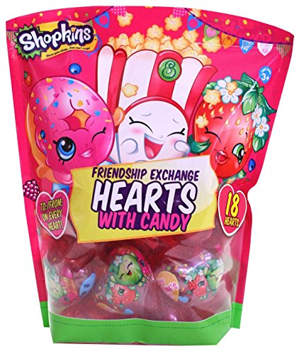 Shopkins Valentine's Day Classroom Plastic Heart Gifts with Candy, 18 Count