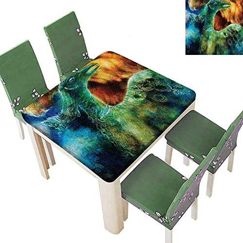 Printsonne Spillproof Fabric Tablecloth Mythical Legendary Phoenix Rebirth New Life from The Ashes Sun Exceptio Kitchen Washable 23 x 23 Inch