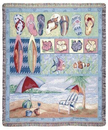60 Tapestry Throw Blanket (Simply Home Tropical Flip Flops Beach Umbrella Fish Tapestry Throw Blanket 50
