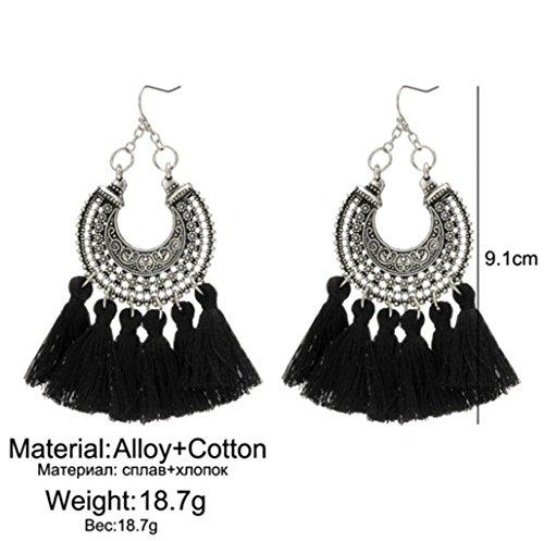 Bohemian Woven U-Shaped Flower Tassel Earrings Cashmere Handmade Earrings,Black by PG-kisseller (Image #1)