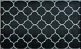 WJ Dennis & Company DUNPBK912 Dune Reversible Outdoor Decorative Mat, Flat Weave Texture, 9' x 12', Pollux Black