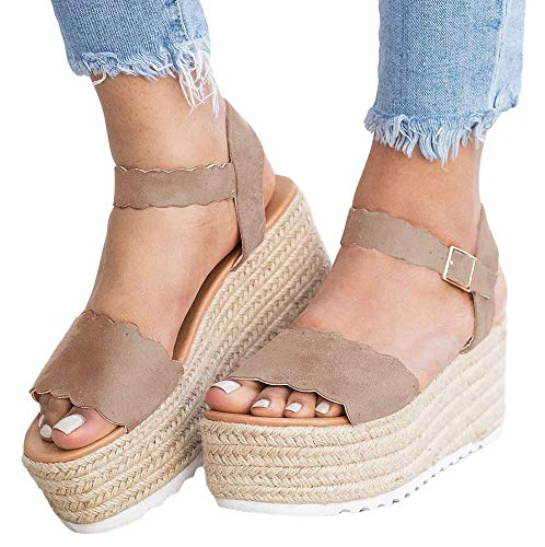 9c85fe3e8e661 Nailyhome Womens Espadrilles Platform Sandals Open Toe Slingback Ankle  Strap with Buckle Suede Flat Heel Sandals