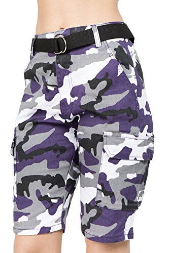 TwiinSisters Women's Casual Destroyed Mid Rise Twill Bermuda Shorts with Comfort Stretch (Large, Purple Camo #rss2050)