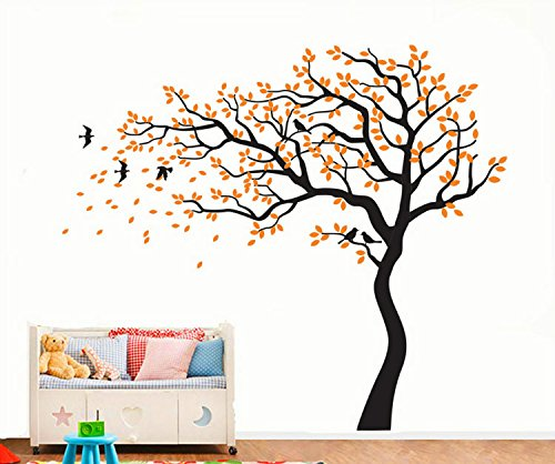 Yanqiao-DIY-Removable-Wall-Art-Decoration-Wall-Mural-Vinyl-Wall-Decal-Tree-and-Flying-Birds-Cherry-Blossom-Tree-Wall-Sticker-for-Kids