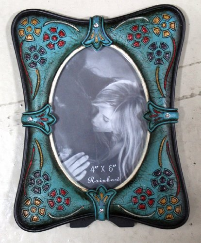 Rustic Western Western Turquoise Flower 4x6 Picture Frame