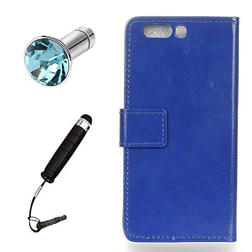Lusee® PU Caso de cuero sintético Funda para Huawei P10 Plus 5.5 Pulgada Cubierta con funda de silicona botón caballo Loco patrón azul