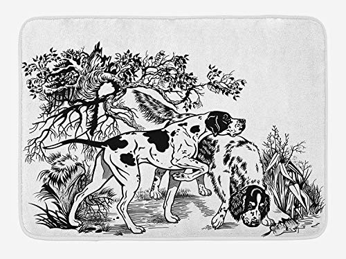 Hunting Bath Mat, Hunting Dogs in The Forest Monochrome Drawing English Pointer and Setter Breeds, Plush Bathroom Decor Mat with Non Slip Backing, 23.6 W X 15.7 W Inches, Black White (Cast Iron Pointer Dog)