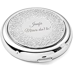 OnePlace Gifts Personalized Floral Compact, Bridesmaid Purse Pocket Makeup Mirror Foldable & Magnifying, Infinite Love, Affection, Renaissance, Venice, Unique Birthday Gift for Her, Customized