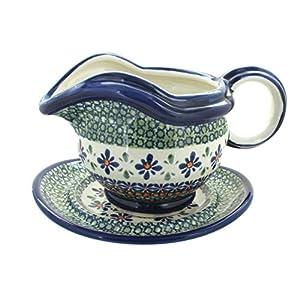 Blue Rose Polish Pottery Mosaic Flower Gravy Boat & Plate