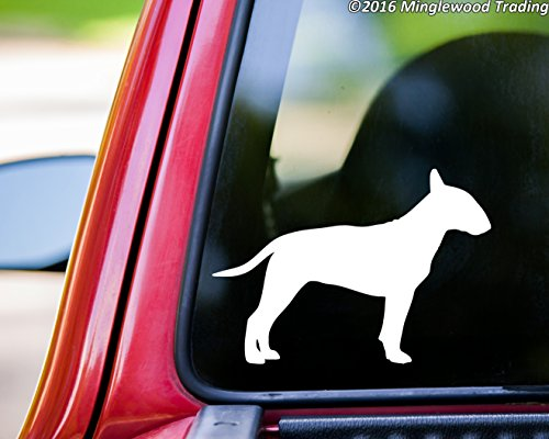 "Minglewood Trading Bull Terrier custom vinyl decal sticker 5"" x 3.5"" English Bully Dog Gladiator WHITE"