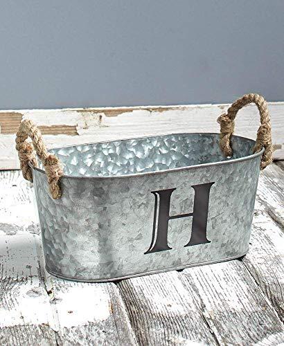 Galvanized Monogram Bucket H