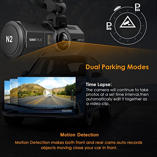 [UPGRADED] Vantrue N2 Dual Dash Cam - 1080P Front and Rear Dual Lens Car Camera 1.5'' Near-360° Wide Angle Dashboard Camera Car DVR Video Recorder w/ Parking Mode, G-Sensor, HDR & Super Night Vision by VANTRUE (Image #4)