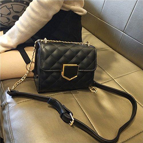 Bolso Black de la Mensajero Color Enrejado Bolso Hombro Black Bolso Cadena Hebilla Bolso de de de la de Mujer Cosméticos de de de Trabajo Br5FwqB