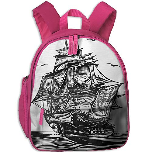 (Haixia Students Boy's&Girl's Backpack with Pocket Pirate Ship Nautical Line Art Style Illustration with Vintage Sailboat On Exotic Waters Decorative Black White)