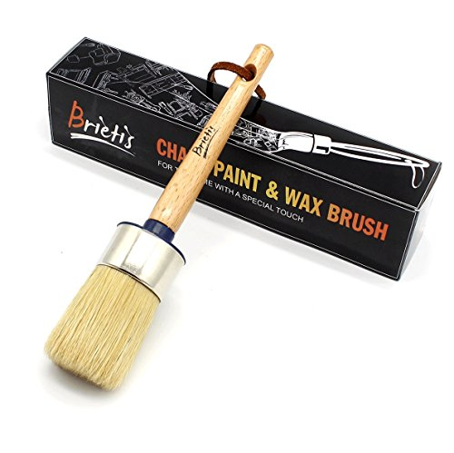 BRIETIS Chalk Paint Wax Brush | Premium Boar Bristles, Smooth Coverage with Annie Sloan Quality for Furniture Painting, Waxing | Soft, Durable Bristles | Folkart, Stencils, Large Round Chalked Brushes