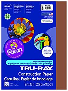 Pacon Tru-Ray Construction Paper, 9-Inches by 12-Inches, 50-Count, Warm Brown (103025)