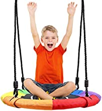Odoland 24 inch Chidren Tree Swing Net Swing Outdoor Kid Platform Swing with Detachable 600LB Weight Load Oxford Fabric and Adjustable Hanging Ropes for Tree, Backyard and Indoor, Multicolor