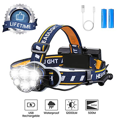 Headlight Flashlight Headlamp - Rechargeable Headlamp, OUTERDO 12000 Lumens 6 LED 8 Modes USB Rechargeable HeadLight with 2 Batteries, Waterproof LED Head Torch Rechargeable Headlamp Flashlight for Camping, Fishing, Cellar, Outdoors