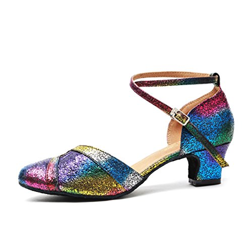 Minishion Womens Fashion Ankle Strap Glitter Latin Salsa Dance Shoes Formal Wedding Pumps Multicolor-5cm Heel FJdPn