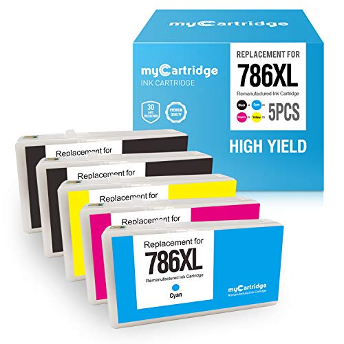 myCartridge Re-Manufactured Ink Cartridge Replacement for Epson 786XL 786 XL T786XL T786 (2 Black, 1 Cyan, 1 Magenta, 1 Yellow, 5-Pack)
