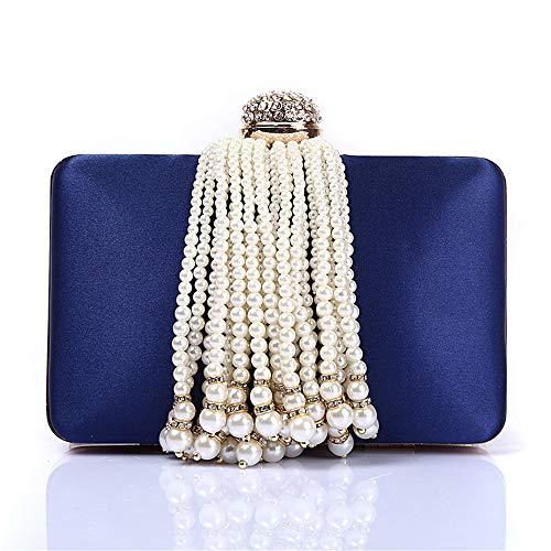 lutch Women Pearl Beaded Tassel Decoration Evening Handbag Bride Bridesmaid Clutches Women Handbags Wedding Clutch Purse (Color : Blue) ()