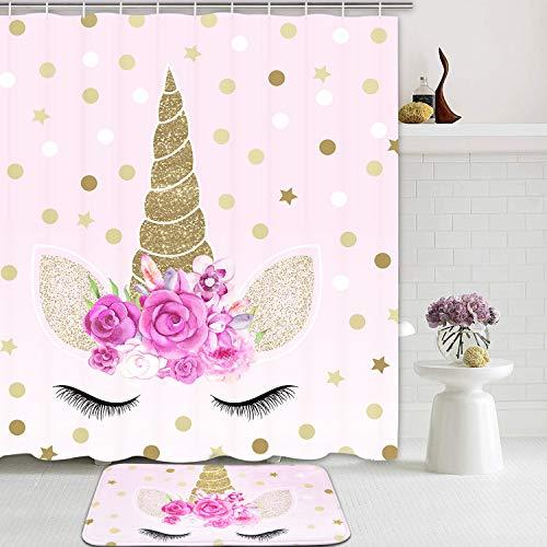 Romeooera 2 Piece Unicorn Shower Curtain Sets with Non Slip Rugs, Pink Unicorn Shower Curtain Waterproof with 12 Hooks for Girls Kids Bathroom (And Bathroom Curtain Rug Sets)