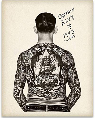 Tattooed Man - Captain Elvy - 11x14 Unframed Art Print - Great Tattoo Shop Decor and Gift Under $15 for Tattoo Artists
