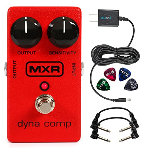 MXR M102 Dyna Comp Compressor Pedal -INCLUDES- Blucoil Power Supply Slim AC/DC Adapter for 9 Volt DC 670mA, 2 Hosa CFS-106 Guitar Patch Cable AND 4 Guitar (Dyna Comp Compressor)