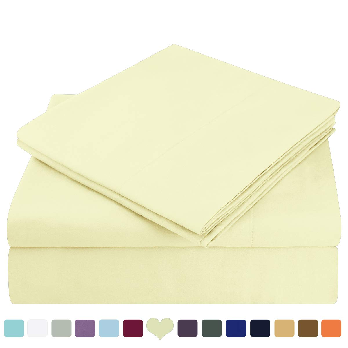 HOMEIDEAS Bed Sheets Set Extra Soft Brushed Microfiber 1800 Bedding Sheets - Deep Pocket, Hypoallergenic, Wrinkle & Fade Free - 4 Piece(King,Pale Yellow)
