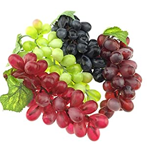 Gresorth 4pcs Artificial Lifelike Grape Cluster Fake Fruit Decoration Home Party Christmas Photography Props 101