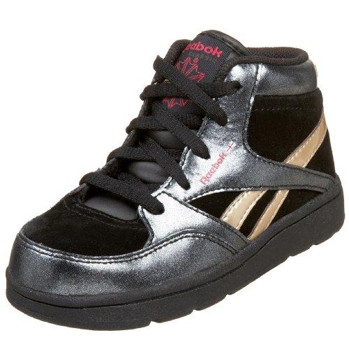 (Reebok Infant/Toddler Versa Courtee Mid Sneaker,Black/Champagne/Candy Pink,9 M US Toddler)