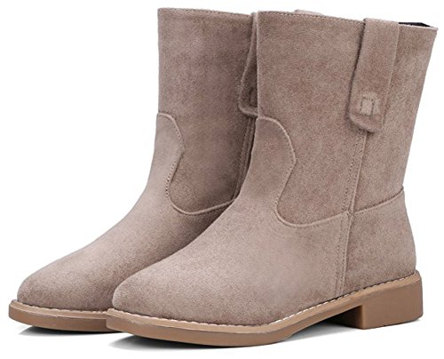 IDIFU Womens Retro Pull On Faux Suede Low Chunky Heeled Round Toe Ankle High Booties Khaki bB8BsIT1