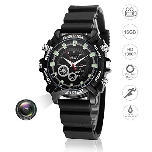 amera 16GB DVR Multifunctional Smart Wrist Waterproof Watch IR Night Vision with Cameras for Home Outdoor Loop Recorder HD 1080P ()