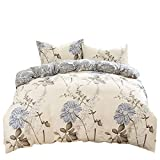 uxcell® 100% cotton duvet cover set--3 Piece high qualitly Duvet Covers and Pillowcases Bedding Sets(King Size, Flower 3)