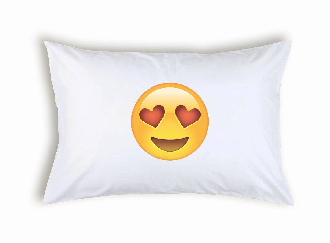 Popdesigners Face Heart Shaped Eyes Emoticon Emoji Pillowcase Funny Gift for Christmas