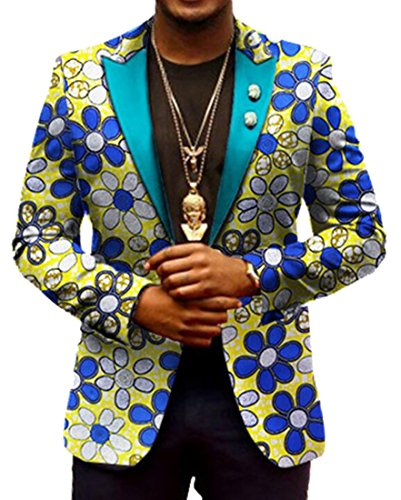 Fensajomon-Men Classic Blazer Africa Print Dashiki Suit Jacket Coat Outwear 4 2XL by Fensajomon