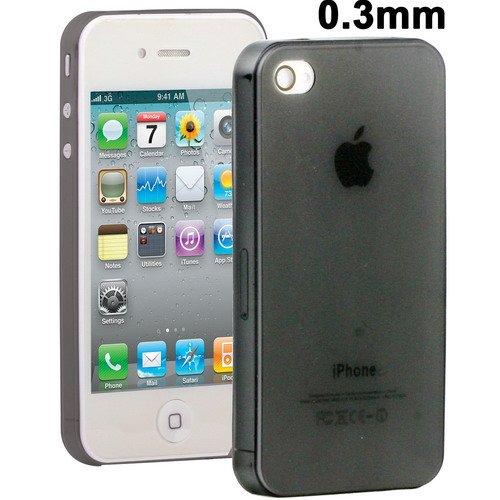 Cover Case Custodia Ultrasottile Slim Semitrasparente Per Iphone 4 4S 0,3 Mm Nero