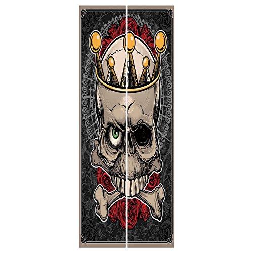 3d Door Wall Mural Wallpaper Stickers [ Gothic Decor,Skull with Crown Roses Bones Dead King Halloween Illustration,Tan Marigold Dark Grey red ] Mural Door Wall Stickers Wallpaper Mural DIY Home Decor ()