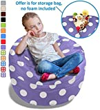 Stuffed Animal Bean Bag Storage Chair in Purple w/Polka Dots - 2.5ft Large Fill & Chill Space Saving Toy Organizer for Children - for Blankets, Teddy Bears, Clothes & Bedding