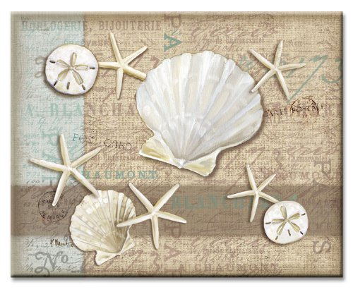 CounterArt Linen Shells Glass Cutting Board, 14-7/8 by 11-3/4-Inch Counter Art 22520