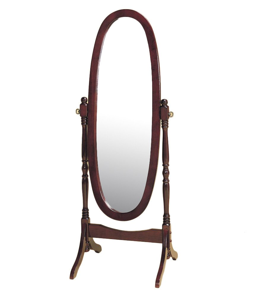 Espresso Finish Wooden Cheval Bedroom Floor Mirror (Espresso Oval)