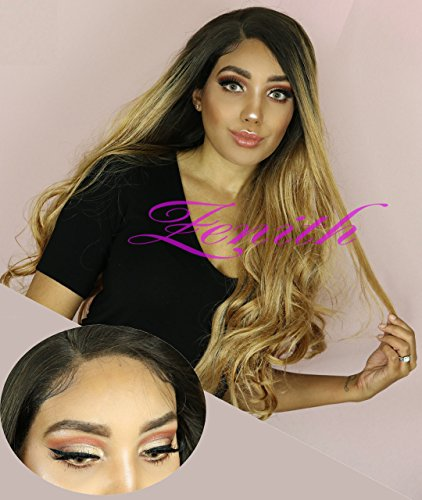 Search : Zenith Golden Brown Ombre Lace Front Wigs for African American Women Dark Rooted Ombre Honey Blonde Wavy Wig 24 inches Long Synthetic Highlights Mixed Blonde Honey Hair with Natural Looking Parting