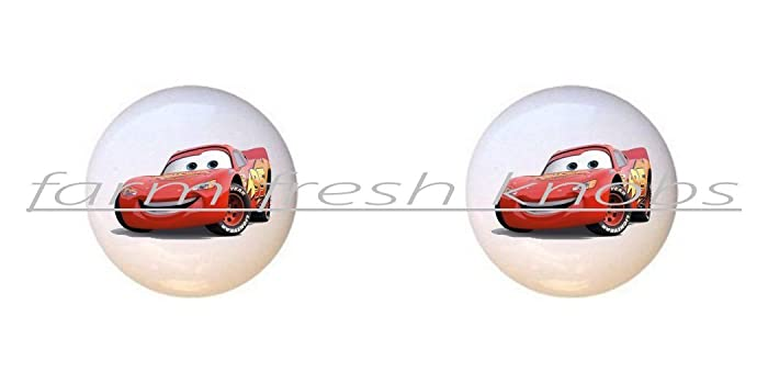 SET OF 2 KNOBS   Lightning McQueen   Disney Cars   DECORATIVE Glossy  CERAMIC Cupboard Cabinet