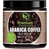 Exfoliating Arabica Coffee Body Scrub - Best Skin Exfoliator for Face Hand Lip & Body with Sea Salt & Shea Butter, Acne & Eczema Treatment, Exfoliate Moisturize, Stretch Mark Scar & Cellulite Remover