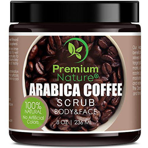 Exfoliating Arabica Coffee Body Scrub - Best Skin Exfoliator for Face Hand Lip & Body with Sea Salt & Shea Butter, Acne & Eczema Treatment, Exfoliate Moisturize, Stretch Mark Scar