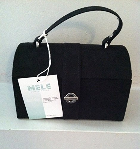 Mele Jewel Case Jewelry Box with Mirror Black Suede 661-F05