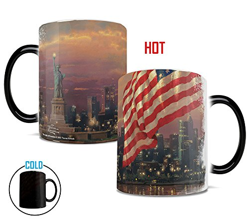 Morphing Mugs Thomas Kinkade Light of Freedom (New York USA) Heat Reveal Ceramic Coffee Mug - 11 Ounces